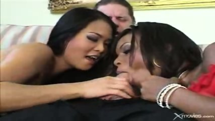 Ebony and asian babes suck a white guy. - scene 12