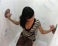 Hot brunette in gloryhole action - scene 1