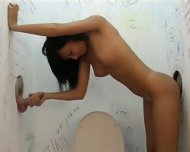 Hot brunette in gloryhole action - scene 7