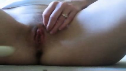 Amateur chick masturbating with white dildo - scene 11