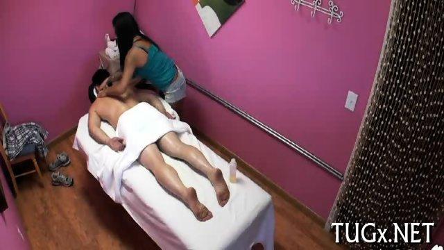 Hot masseur performs blowjob
