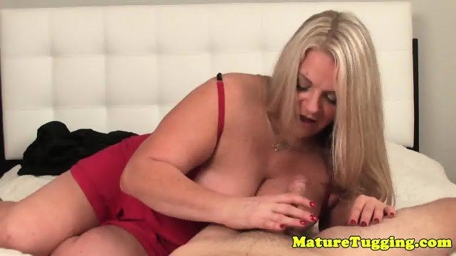 BBW in lingerie jerking cock pov - scene 9