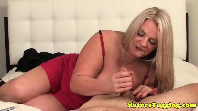 BBW in lingerie jerking cock pov - scene 1
