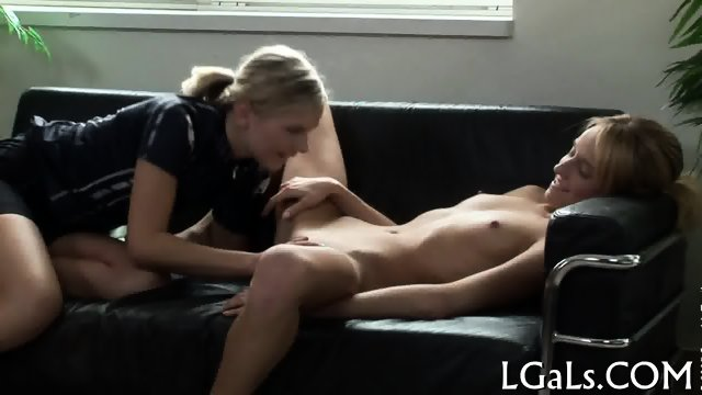 Sexy gals rub clitorises