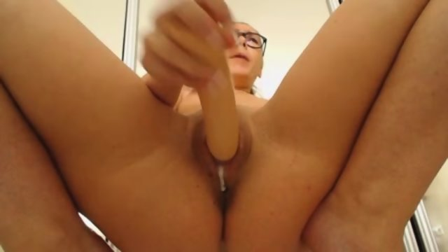 Girl With Glasses Uses Dildo