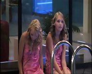 BBUK Twins in pink silk nighties softcore - scene 8