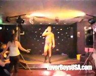Amateur Girl sucks naked stripper in public party - scene 4