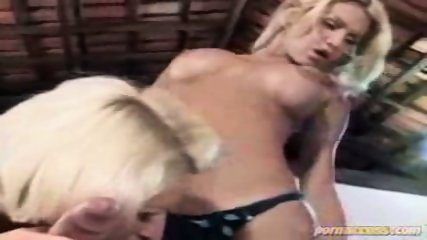 Two blonde babe sucking his dick