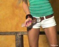 Amy Ried Strips In A Hallway - scene 1