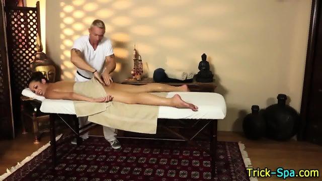 Babe grabs masseurs dick
