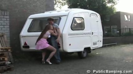 STREET SEX couple behing trailer. PART 1 - scene 9