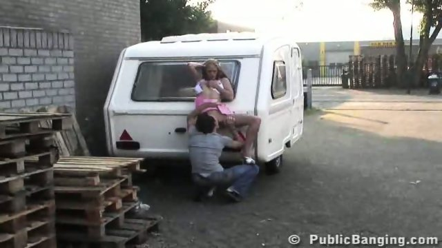 STREET SEX couple behing trailer. PART 1