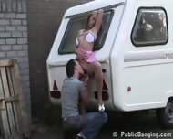 STREET SEX couple behing trailer. PART 1 - scene 6