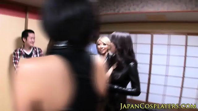 Japanese leather ladies jerking cock