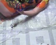 really cool body painting by two hot girls - scene 10