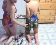 really cool body painting by two hot girls - scene 5