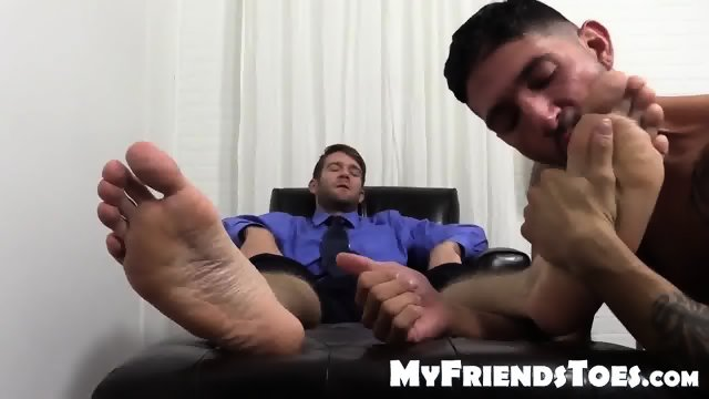 Horny Colby Jerks Hard Cock During Foot Worship From Johnny