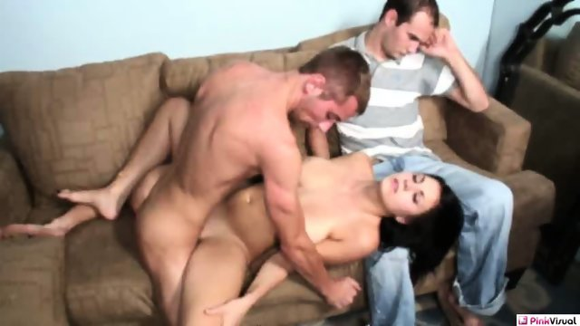Angela Amore - Big Boob Babe Fucked by Two Guys