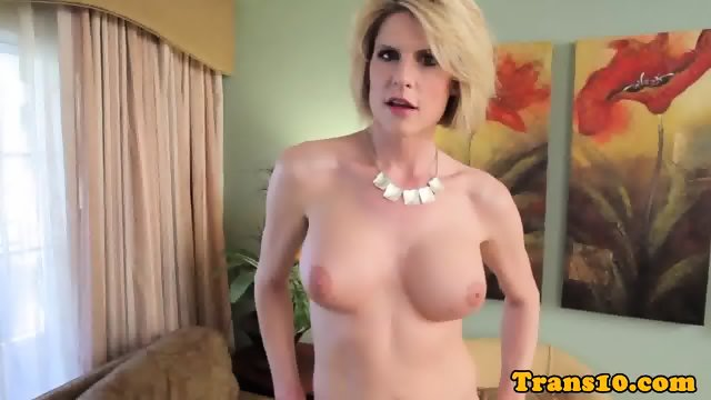 Tall tranny facialed after anal ramming